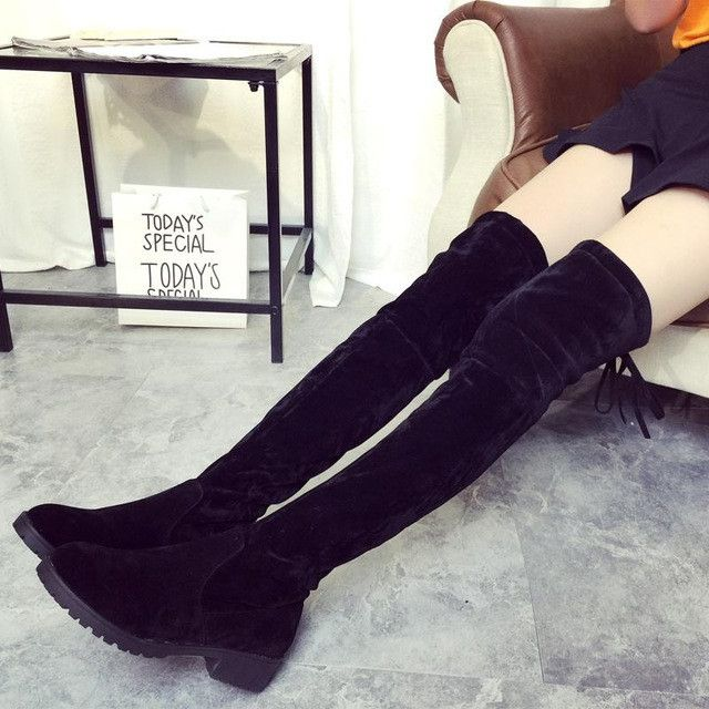 2017 Sexy Women Thigh High Boots Over The Knee Boot Classic Spring Autumn Ladies Shoes Woman Thick Heels Mujer Zapatos Designer