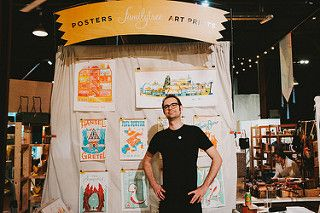 Excellent sign! Fabric wall a great solution for hanging prints. #RenegadeAustin #RenegadeCraftFair