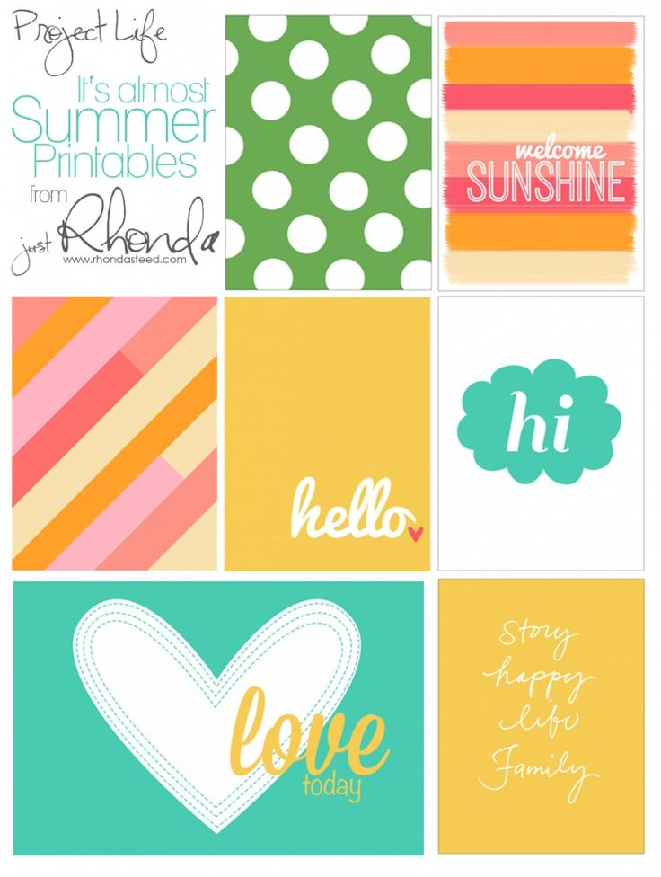 Free Project Life Cards for Summer Projects