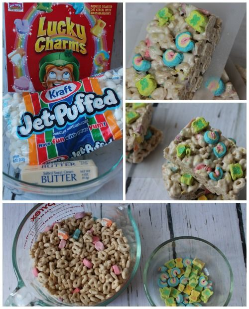 Lucky Charms Cereal Bars Recipe! These are so easy and would be really cute for a St Patricks Day School Classroom treat. I pulled out the rainbows and shamrocks to place on top for St. Patrick's Day.