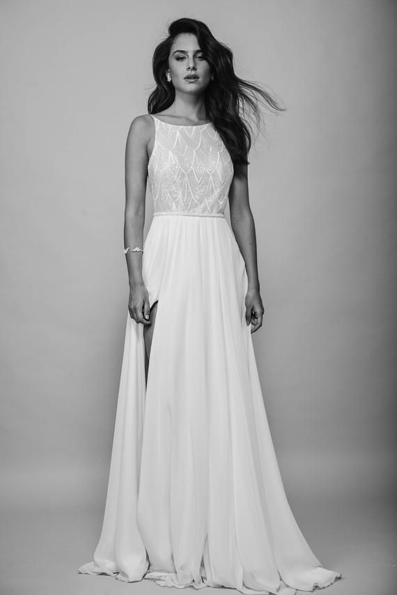 Open Back Wedding Dress Halter Gown Shiny Lace Top Backless