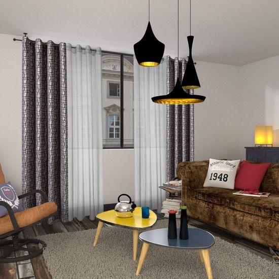Rideau VANCOUVER coloris gris 135 x 260 cm