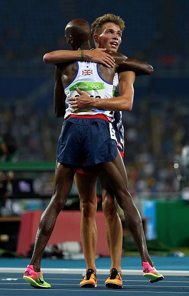 Mohamed Farah and Andrew Butchart of Great Britain celebrate after the Men's…