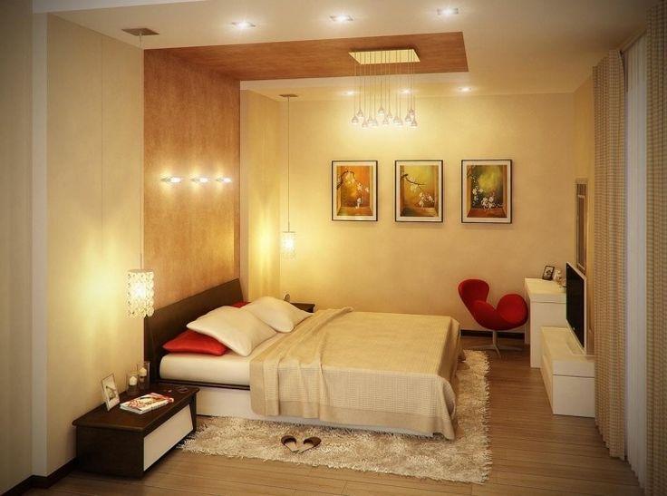 Beleuchtungskonzept für ein kleines Schlafzimmer in Beige
