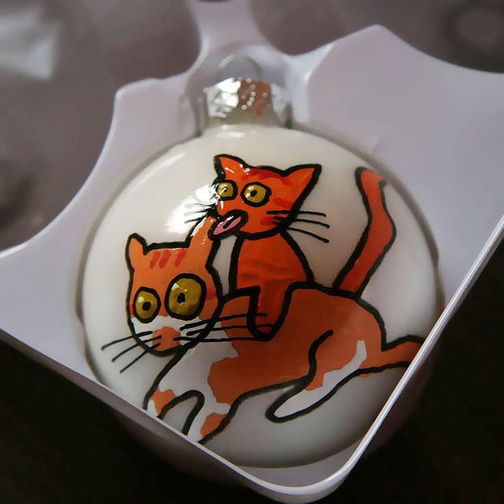 Kerstbal met katten door Annie Warhoofd Beelddesign