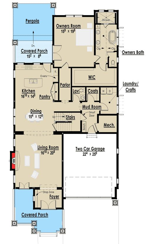 17 best ideas about craftsman floor plans on pinterest for Award winning narrow lot house plans