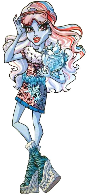 Monster High: Abbey Bominable!  Abbey Bominable is the daughter of the Yeti. An exchange student from the mountains, she tends to be very upfront and direct with her opinions, but is a good friend to all. Her pet is a wooly mammoth named Shiver.