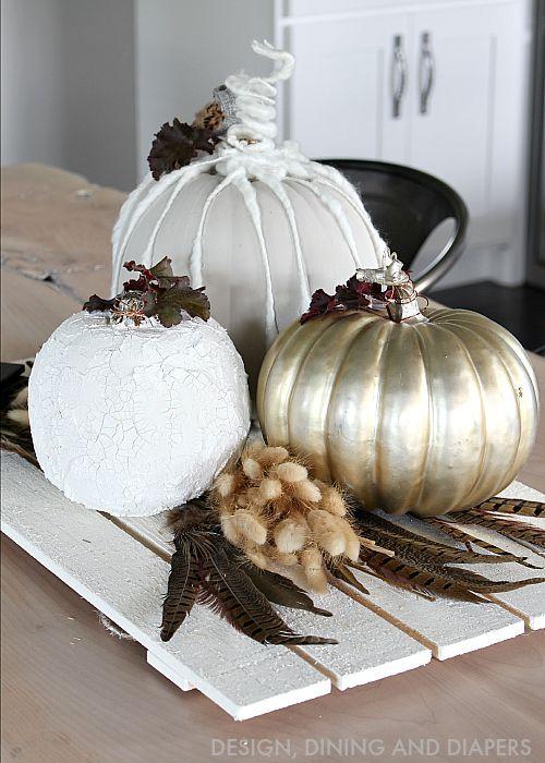 Neutral fall centerpiece with diy pumpkins diy pumpkin for White pumpkin designs