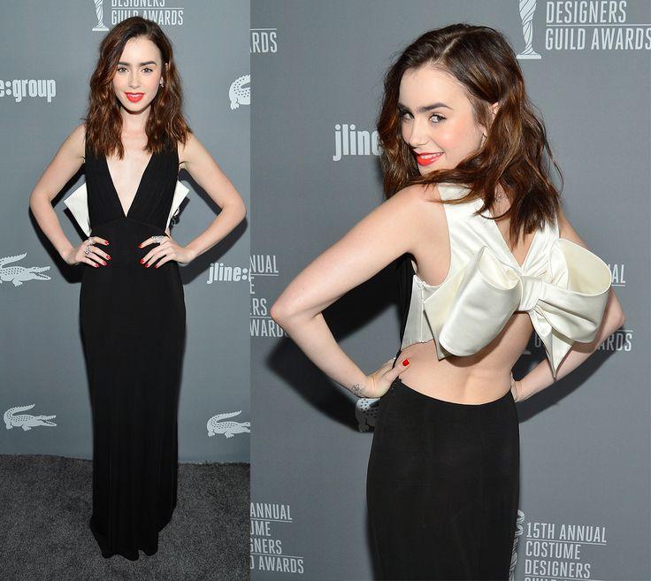 Lily Collins Paule Ka Bow Dress