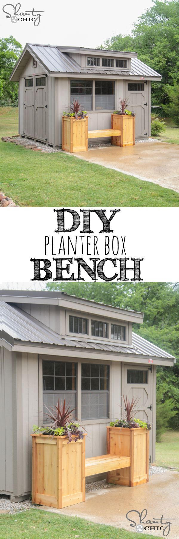 LOVE this DIY Cedar Planter Box Bench! Free plans too!! www.shanty-2-chic.com