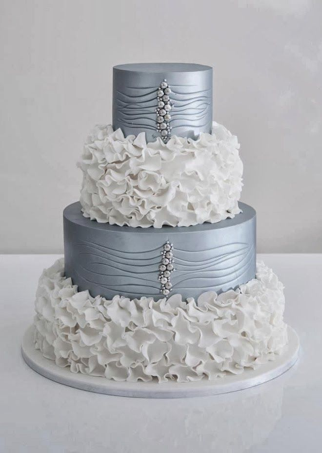 Silver and white wedding cake #watters #wedding #cake www.pinterest.com/wattersdesigns/