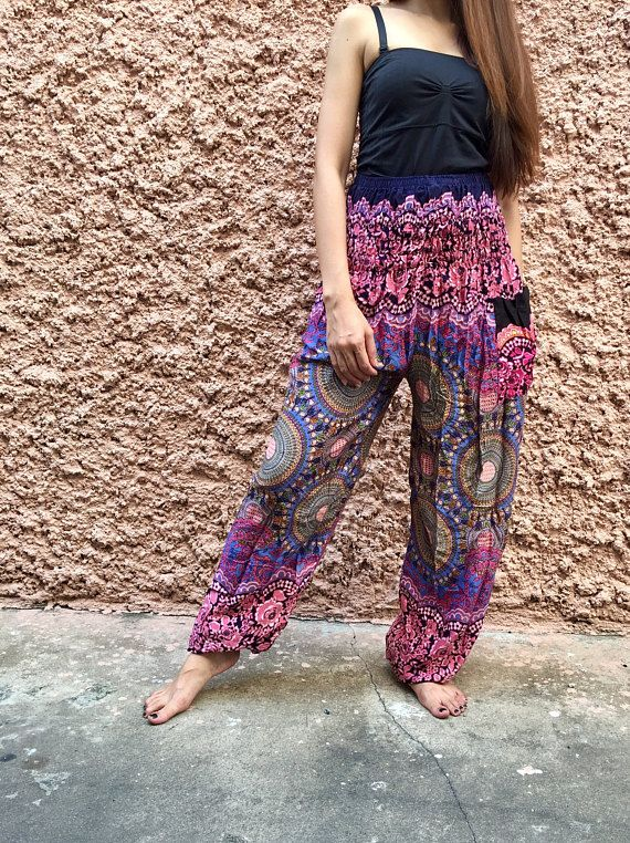 f820f3ae6229d Mandala Harem Pants Hippie Boho Chic Festival clothing Gypsy Beach Summer  Yoga Clothes Bohemian Fashion Meditation Women men Gift for her