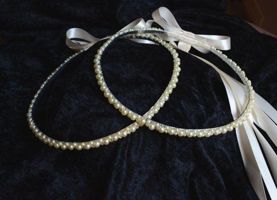 Greek Orthodox Stefana Wedding Crowns Ivory Pearl Silver Bridal