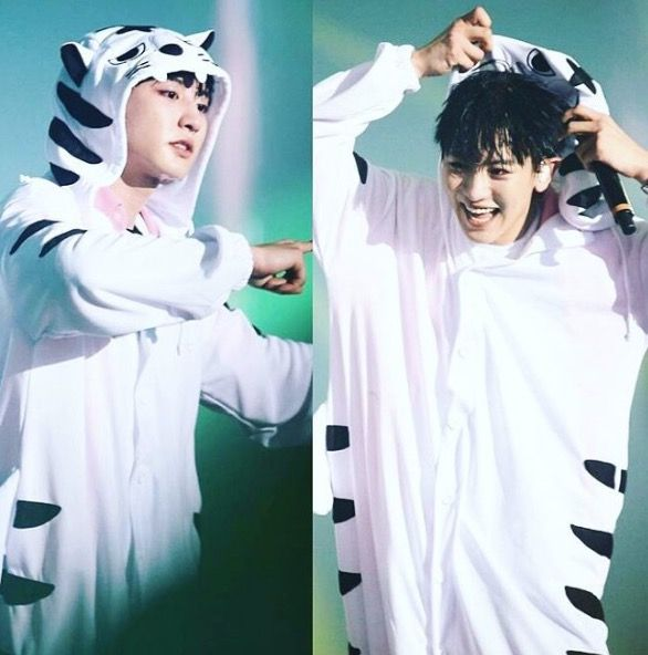 Chanyeol in his white tiger onesie