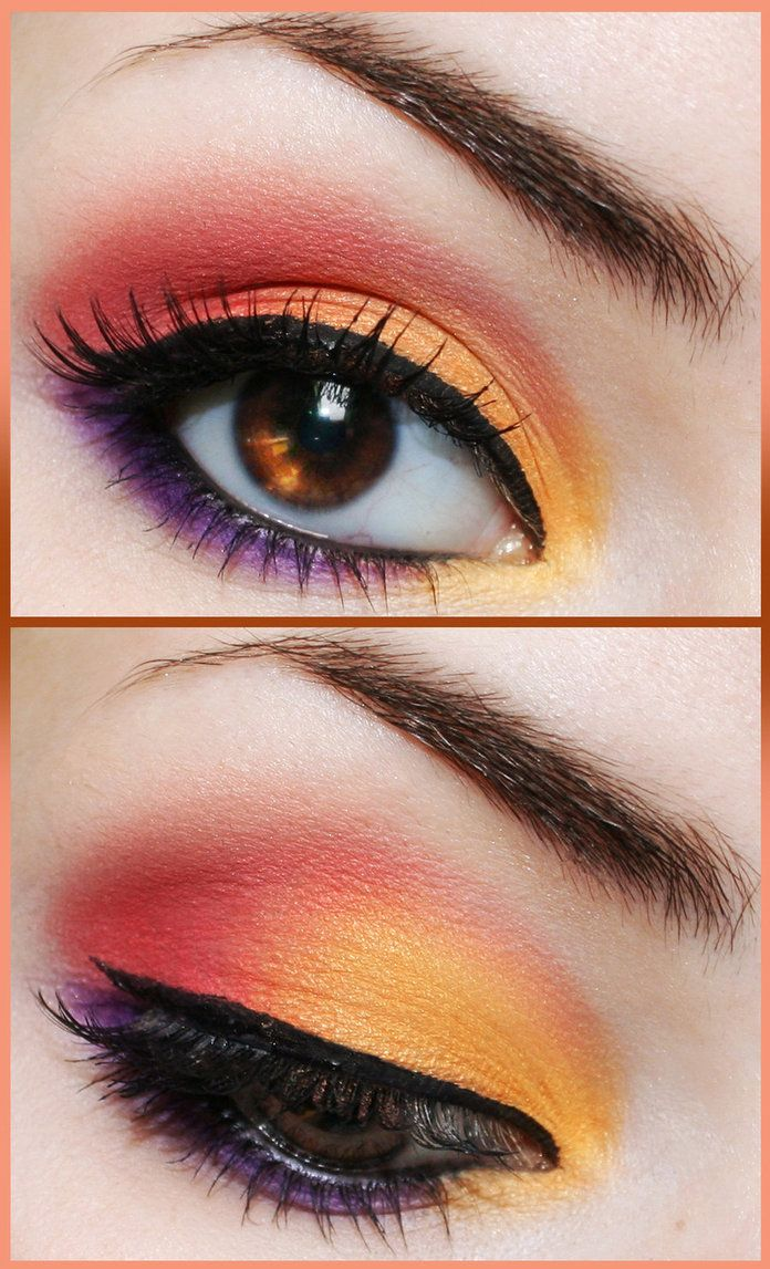 "Love this sunset/tropical look <3 [did 19march2012 - EYESHADOWS I USED: Yellow - Lucky 107 ""Karakara"" ; Pink - Lucky 107 ""Abby Rose"" ; Purple - Lucky 107 ""Annaleigh""]"