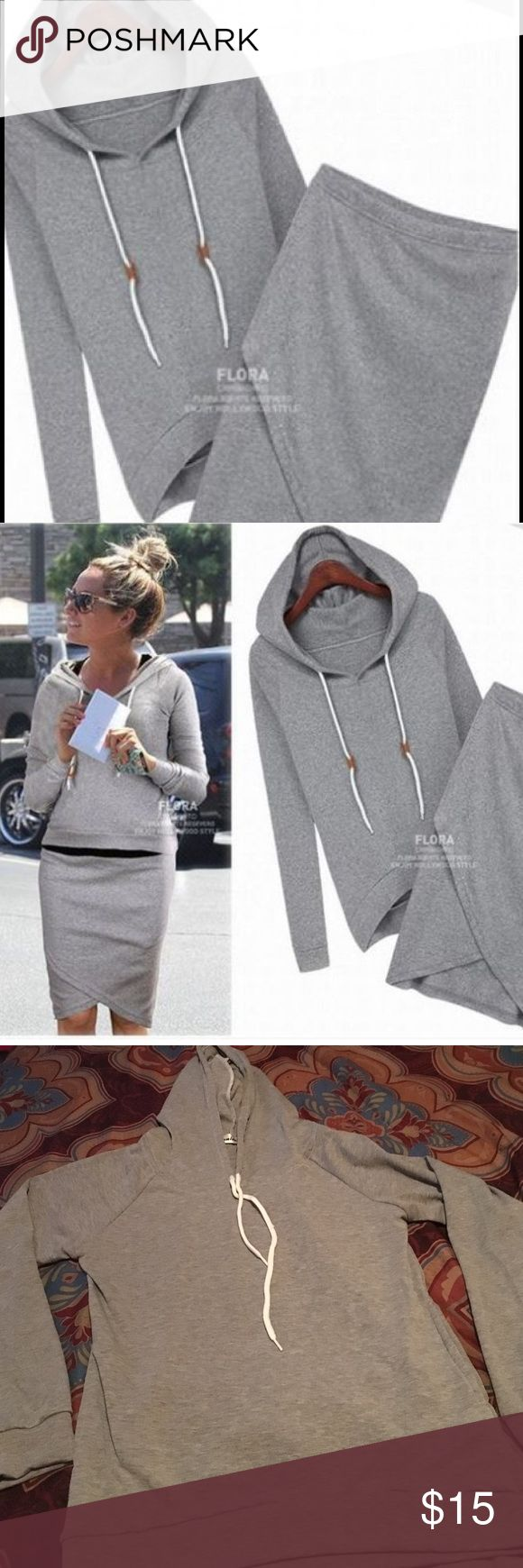 Gray Two Piece Sweater Skirt Set New women's gray two piece skirt set. Long sleeve hoodie and Bodycon skirt. Super cute with tennis shoes! True to size. Brand new, tags removed Unbranded Skirts Skirt Sets