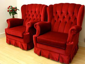 Pair Of French Vintage Chic Raspberry Red Velvet Chesterfield Armchairs  Couch