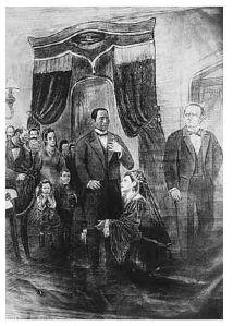 La denegación del perdón a Maximiliano, fotografía de litografía, 1927, Archivo Fotográfico iie-unam.