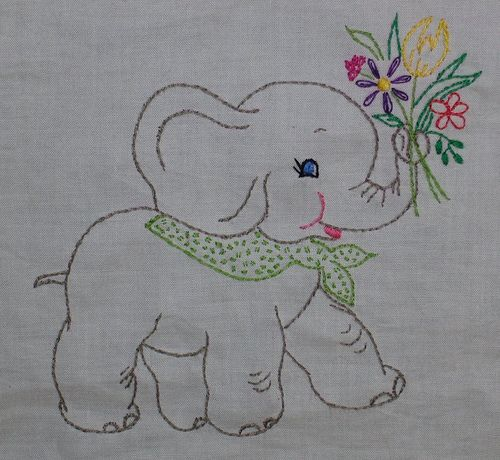 Elephant quilt square by sewclever, via Flickr
