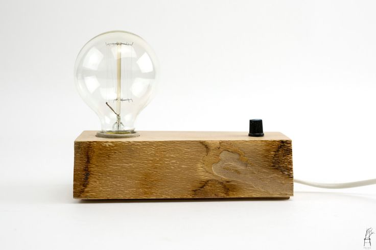 Edison Lamp Handmade Wood Desk Lamp With Vintage Bulb Dimmer Switch by PriosTeam on Etsy