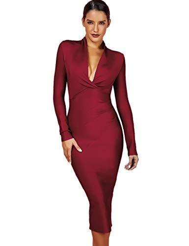 UONBOX Women s Deep Plunge V Neck Long Sleeves Draped Knee Length Bodycon  Bandage Dress (XL a434a0cc5