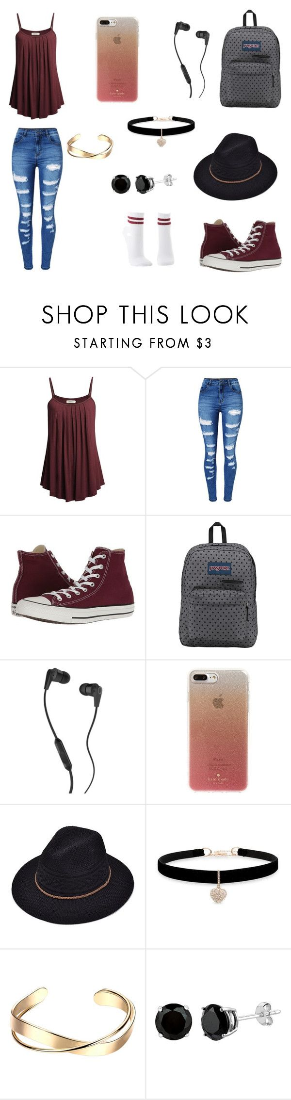"""""""Cheap Summer Style"""" by silliavinete8 on Polyvore featuring WithChic, Converse, JanSport, Skullcandy, Kate Spade, Betsey Johnson, Charlotte Russe, Summer, cute and casual"""
