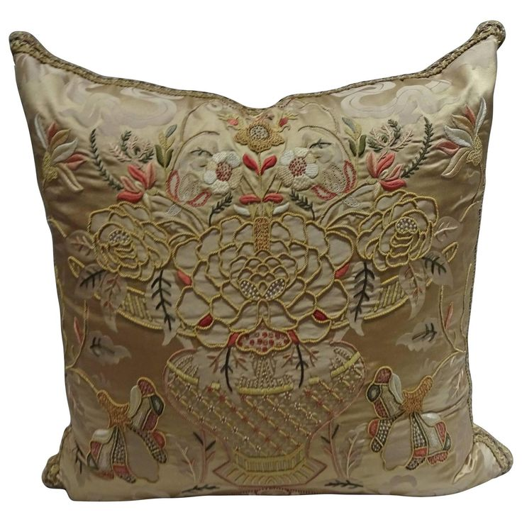 Magnificent Embroidered Pillows, Scalamandre Fabric | From a unique collection of antique and modern pillows and throws at https://www.1stdibs.com/furniture/more-furniture-collectibles/pillows-throws/