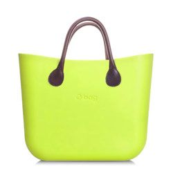 Mini O bag - Apple Green with Brown Leather Short Handle