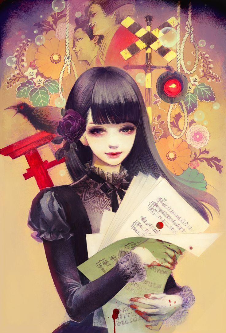 Аниме картинка 1000x1476 с  оригинальное изображение matsuo hiromi длинные волосы один (одна) высокое изображение смотрит на зрителя чёрные волосы чёлка чёрные глаза цветок в волосах губы пузырь (пузыри) нота (ноты) девушка платье украшения для волос цветок (цветы) животное птица (птицы) кровь