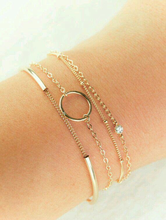 Layered delicate bracelets