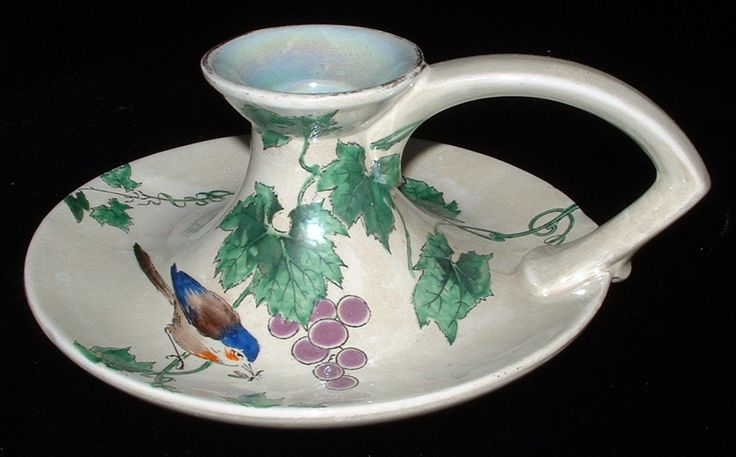 Art Deco Shelley Candle Holder Bird And Grapes Spano Lustra Frederick Rhead 1911-1916
