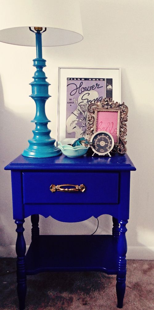 blue nightstand + teal-lamp + nightstand vignette