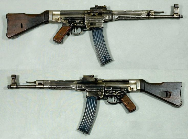 """The StG 44 (abbreviation of Sturmgewehr 44, """"assault rifle 44"""") was an assault rifle developed in Nazi Germany during World War II that was the first of its kind to see major deployment and is considered by many historians to be the first modern assault rifle."""