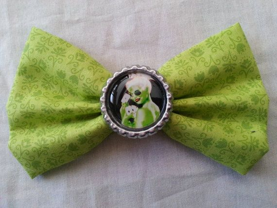 Zombie Hair Bow Zombie Pin Up Hair Bow on Lime Green Zombie