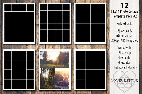 11x14 Photo Collage Template Pack 2 by Loveurstyle Designs on @creativemarket