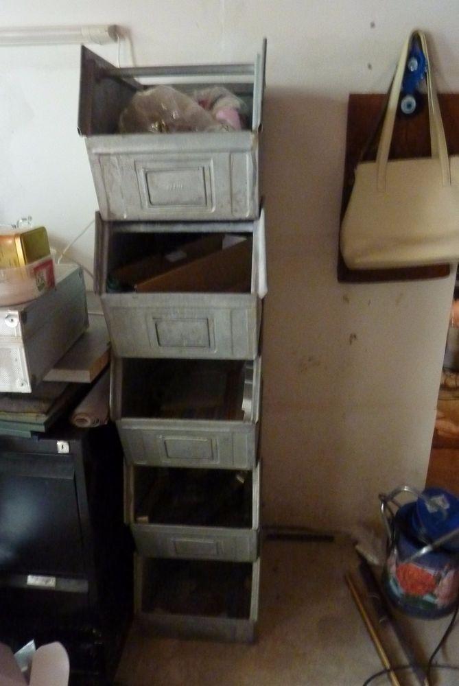 lot de 5 bacs en métal empilables loft atelier meuble industriel vrai RAPIDBOX