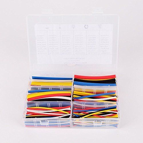 Bears 90mm 2:1 ratio 6 Size 5 color آ¦آµ1.6-9.5 0.8mm 1.2mm 1.6mm 2.4mm 3.2mm 4.8mm Polyolefin Heat Shrink Tubing sleeve Cable Wrap Kit (Pack of 180)