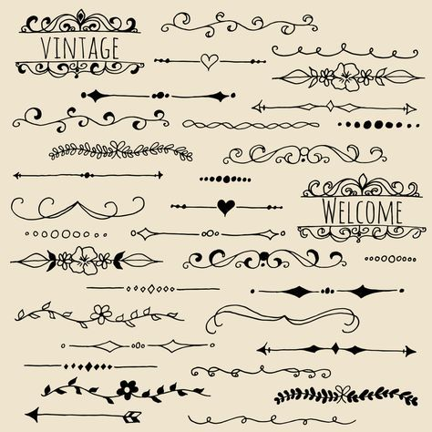 Chalkboard Text Dividers Clip Art // Photoshop Brushes PNG Vector // Hand Drawn Vintage // Typography Lettering // Commercial Use