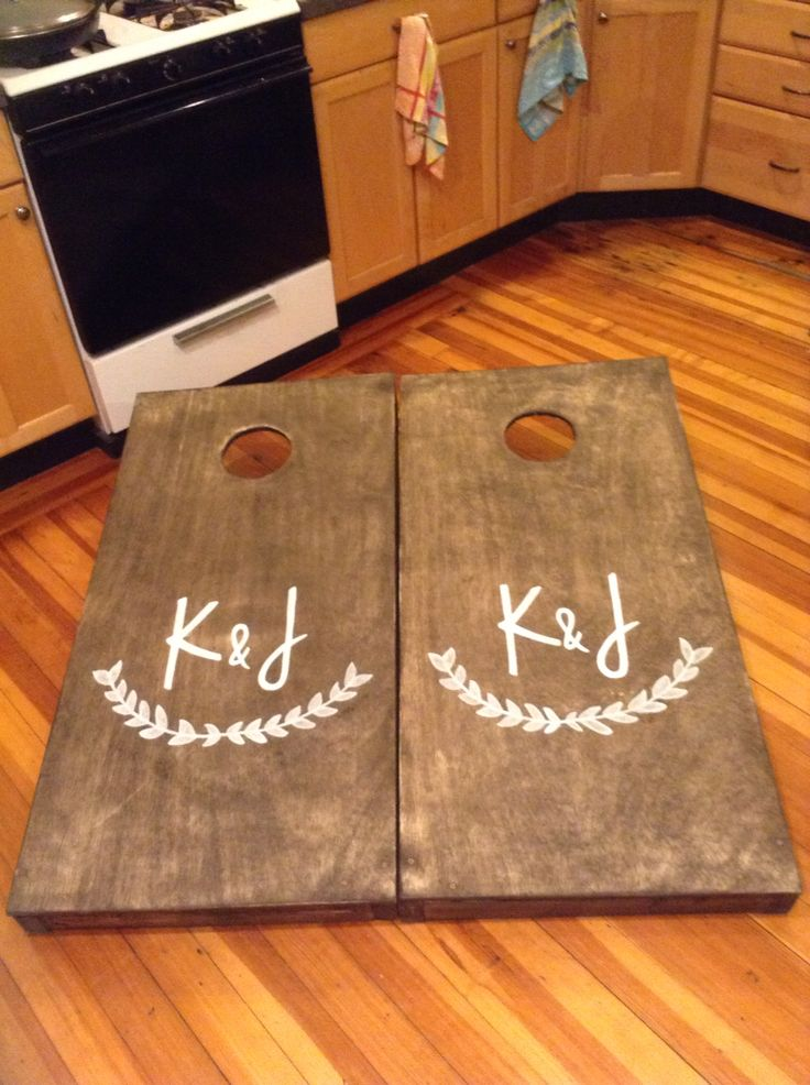 Wedding cornhole boards finished!!