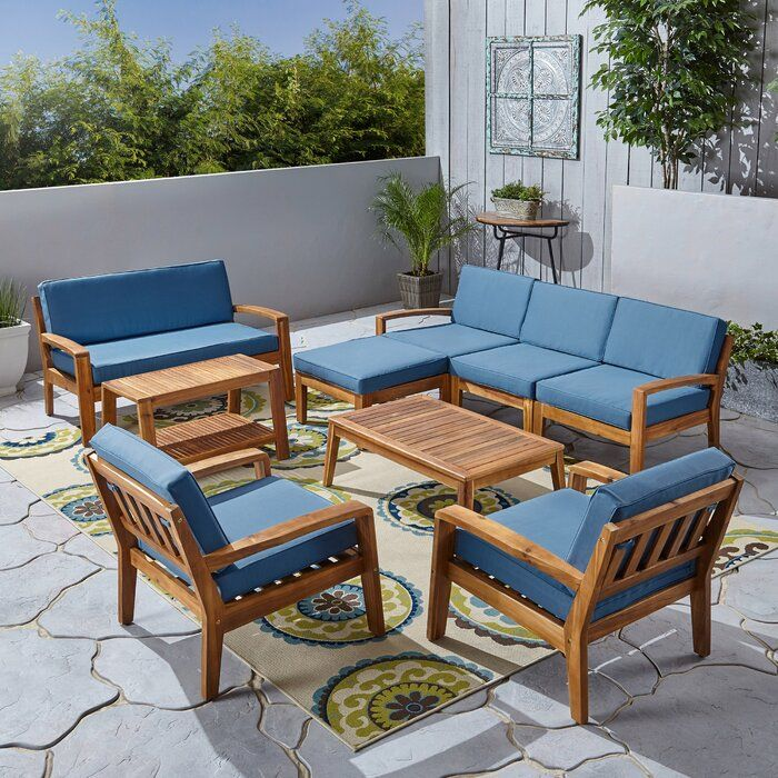 Rumph 9 Piece Sectional Seating Group With Cushions In 2020 Wooden Sofa Designs Teak Patio Furniture Wooden Sofa Set Designs