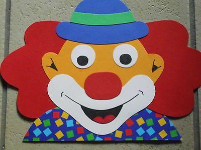 Fensterbild Tonkarton Karneval Fasching Fenstergucker Clown rote Haare NEU TOPP