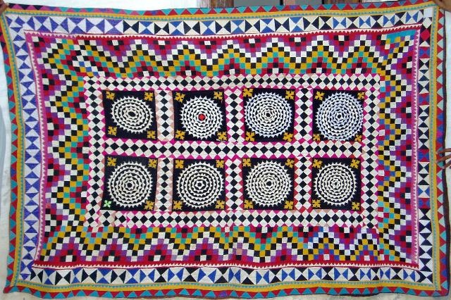 An old ralli quilt with applique and patchwork design. Hand sewn and hand stitched. [SOLD]