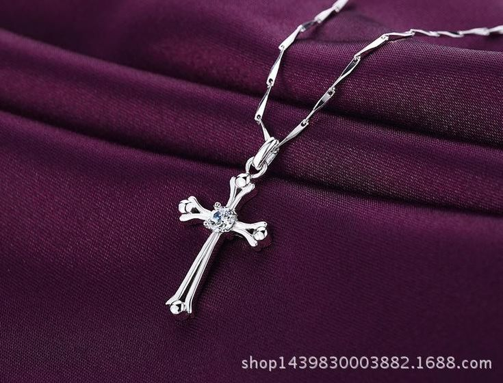 Fashion 925 Sterling Silver Cross-shaped Pendent Women Necklace O-chain Jewelry