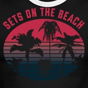 "Team Volleyball ""Sets on the Beach"" Design - Men's Ringer T-Shirt  Volley, Volleyball team shirts, volleyball graphic tees, womens volleyball team shirt, volleyball uniform, team shirts, beach volleyball, indoor volleyball, men & aposs volleyball, sand volleyball, club volleyball shirts, adult volleyball leagues, womens volley, ace volleyball, volleyball team, volli ball, university of texas volleyball, olympic girls volleyball made by CW Design, Crystal Whitlow"