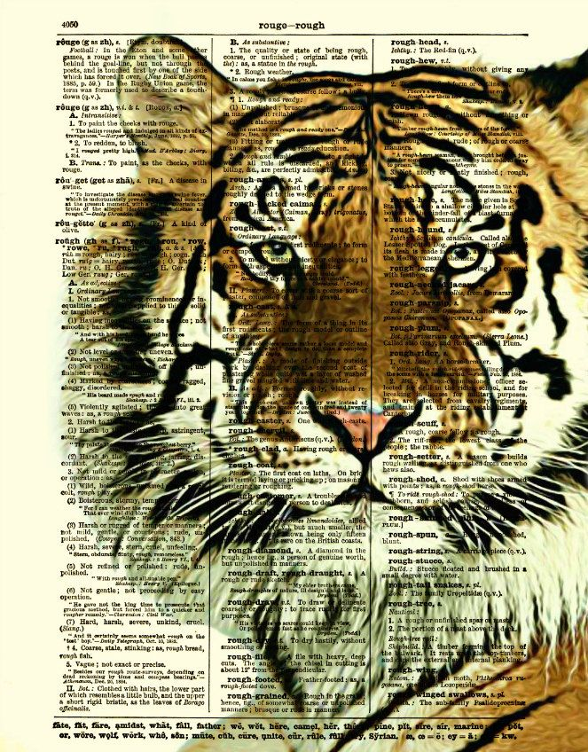 NEED THIS Tiger Dictionary Art Print, Tiger Art, Dictionary Page