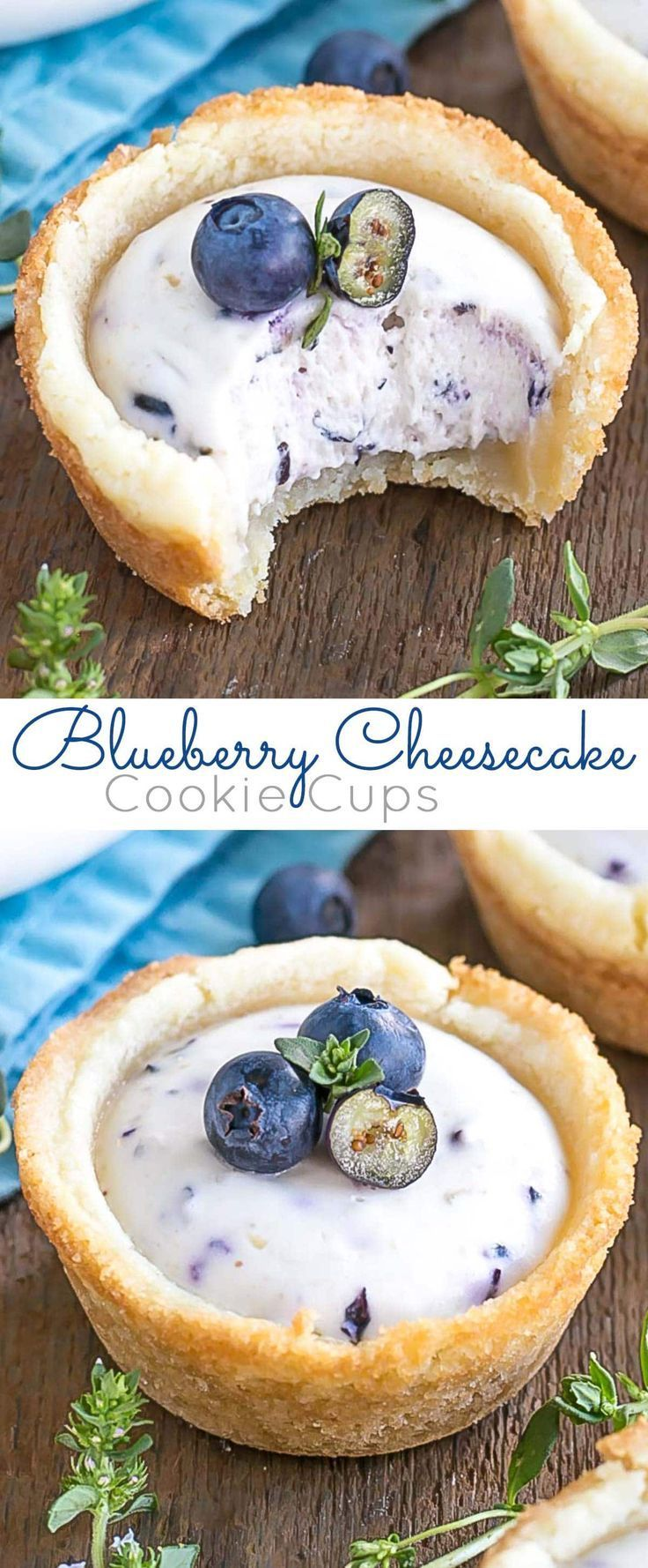 These Blueberry Cheesecake Cookie Cups make the perfect use of those fresh summer berries!   livforcake.com