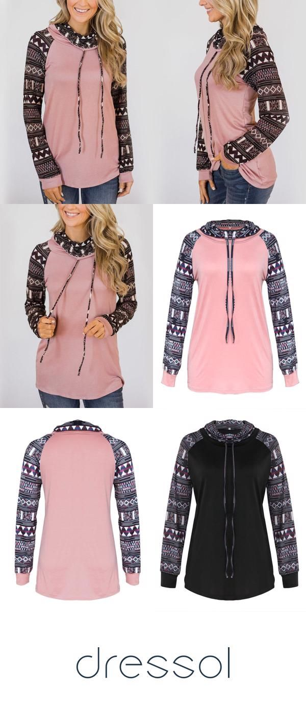 Women Overhead Work Printed High Neck Patchwork Drawstring Hoodie Plus Size Hoodies & Sweatshirts 3
