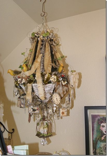 Diana Frey's studio #bohemian #decor #lamp #chandelier I would like to do a class on making fabulous CHANDELIERS!!!