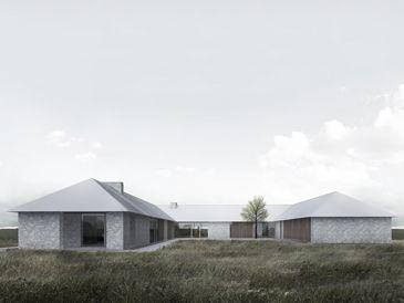 BAKS ARKITEKTER - Double Wing House, Denmark. Nordic architecture, house, design, scandinavian, texture, brick, minimalistic, farm, grey