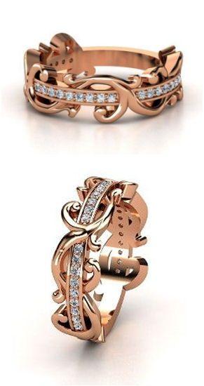 14K Rose Gold Ring with Diamond | Atlantis Band